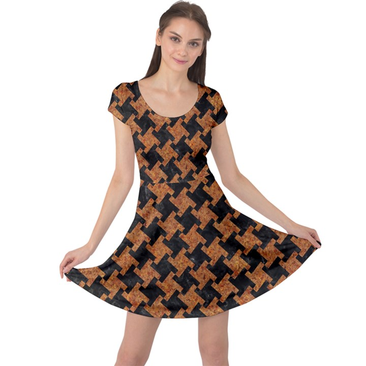 HOUNDSTOOTH2 BLACK MARBLE & RUSTED METAL Cap Sleeve Dress