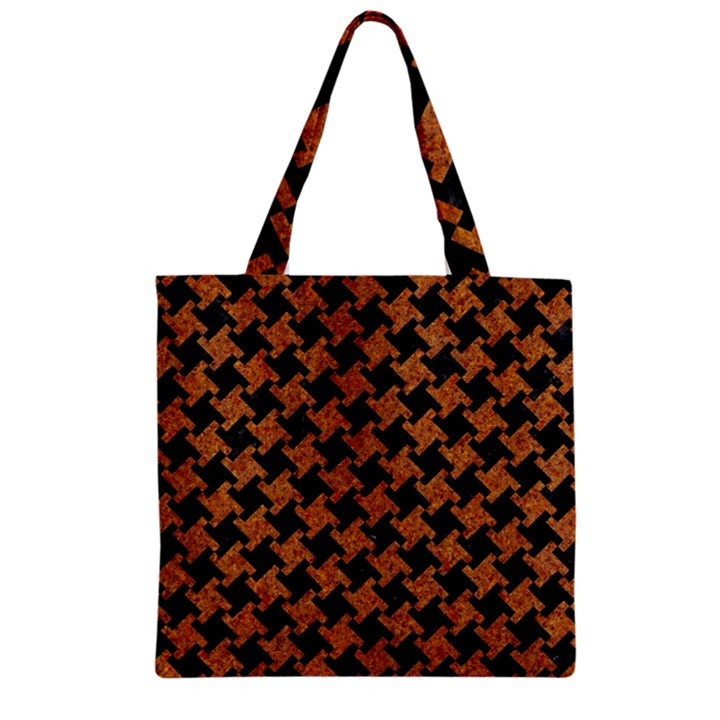 HOUNDSTOOTH2 BLACK MARBLE & RUSTED METAL Zipper Grocery Tote Bag