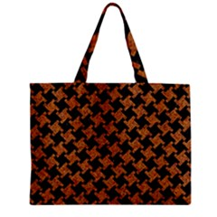 HOUNDSTOOTH2 BLACK MARBLE & RUSTED METAL Zipper Mini Tote Bag
