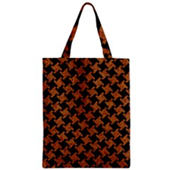 HOUNDSTOOTH2 BLACK MARBLE & RUSTED METAL Zipper Classic Tote Bag