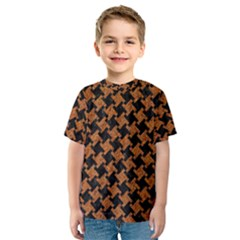 HOUNDSTOOTH2 BLACK MARBLE & RUSTED METAL Kids  Sport Mesh Tee
