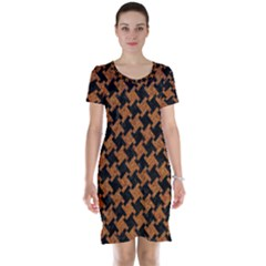 HOUNDSTOOTH2 BLACK MARBLE & RUSTED METAL Short Sleeve Nightdress