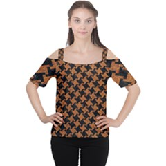 HOUNDSTOOTH2 BLACK MARBLE & RUSTED METAL Cutout Shoulder Tee