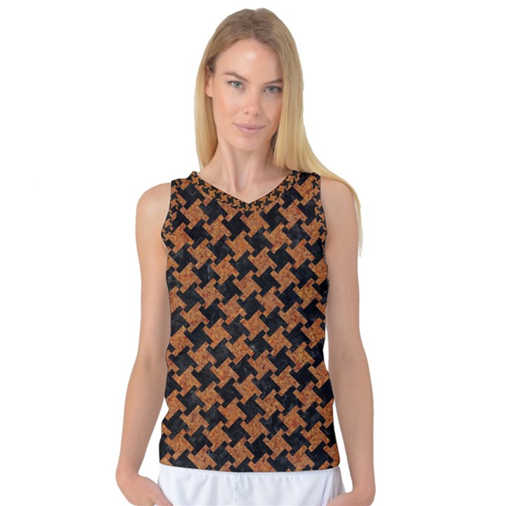 HOUNDSTOOTH2 BLACK MARBLE & RUSTED METAL Women s Basketball Tank Top