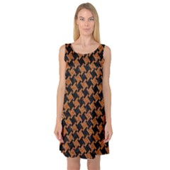 HOUNDSTOOTH2 BLACK MARBLE & RUSTED METAL Sleeveless Satin Nightdress
