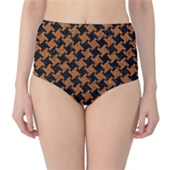 HOUNDSTOOTH2 BLACK MARBLE & RUSTED METAL High-Waist Bikini Bottoms