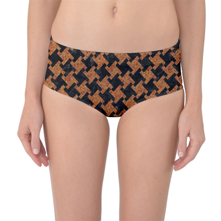 HOUNDSTOOTH2 BLACK MARBLE & RUSTED METAL Mid-Waist Bikini Bottoms