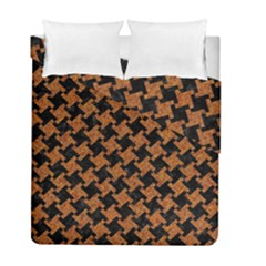 HOUNDSTOOTH2 BLACK MARBLE & RUSTED METAL Duvet Cover Double Side (Full/ Double Size)