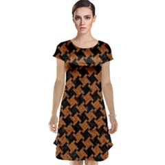 HOUNDSTOOTH2 BLACK MARBLE & RUSTED METAL Cap Sleeve Nightdress