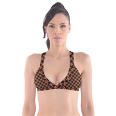 HOUNDSTOOTH2 BLACK MARBLE & RUSTED METAL Plunge Bikini Top