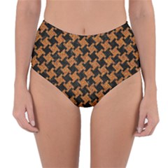 HOUNDSTOOTH2 BLACK MARBLE & RUSTED METAL Reversible High-Waist Bikini Bottoms