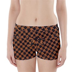 HOUNDSTOOTH2 BLACK MARBLE & RUSTED METAL Boyleg Bikini Wrap Bottoms