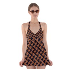 HOUNDSTOOTH2 BLACK MARBLE & RUSTED METAL Halter Dress Swimsuit