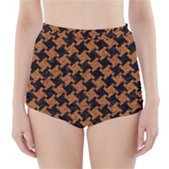 HOUNDSTOOTH2 BLACK MARBLE & RUSTED METAL High-Waisted Bikini Bottoms