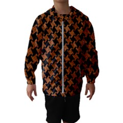 HOUNDSTOOTH2 BLACK MARBLE & RUSTED METAL Hooded Wind Breaker (Kids)