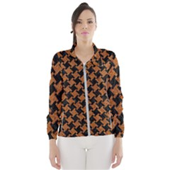 HOUNDSTOOTH2 BLACK MARBLE & RUSTED METAL Wind Breaker (Women)