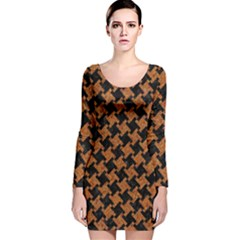 HOUNDSTOOTH2 BLACK MARBLE & RUSTED METAL Long Sleeve Velvet Bodycon Dress