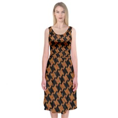 HOUNDSTOOTH2 BLACK MARBLE & RUSTED METAL Midi Sleeveless Dress