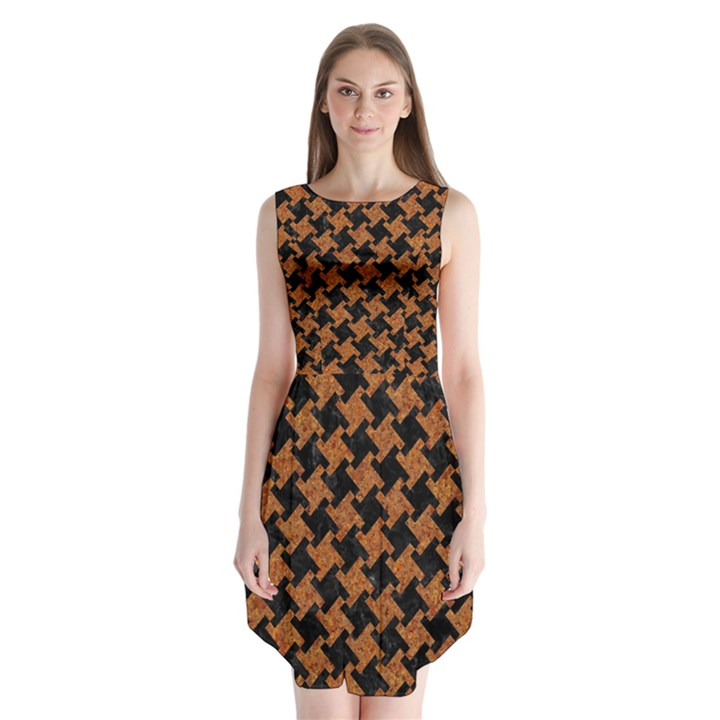 HOUNDSTOOTH2 BLACK MARBLE & RUSTED METAL Sleeveless Chiffon Dress