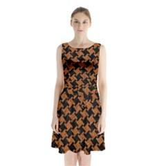 HOUNDSTOOTH2 BLACK MARBLE & RUSTED METAL Sleeveless Waist Tie Chiffon Dress