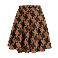 HOUNDSTOOTH2 BLACK MARBLE & RUSTED METAL High Waist Skirt
