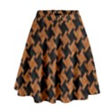 HOUNDSTOOTH2 BLACK MARBLE & RUSTED METAL High Waist Skirt View1