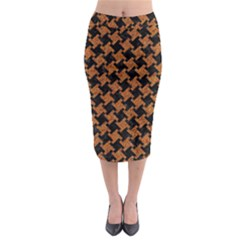 HOUNDSTOOTH2 BLACK MARBLE & RUSTED METAL Midi Pencil Skirt