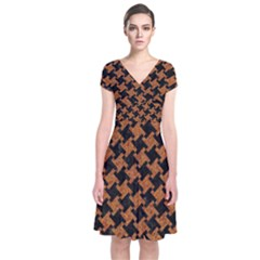 HOUNDSTOOTH2 BLACK MARBLE & RUSTED METAL Short Sleeve Front Wrap Dress
