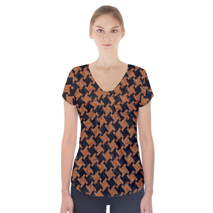 HOUNDSTOOTH2 BLACK MARBLE & RUSTED METAL Short Sleeve Front Detail Top