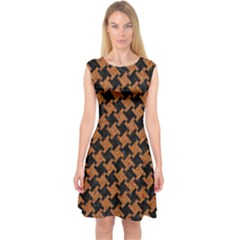 HOUNDSTOOTH2 BLACK MARBLE & RUSTED METAL Capsleeve Midi Dress