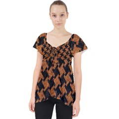 HOUNDSTOOTH2 BLACK MARBLE & RUSTED METAL Lace Front Dolly Top