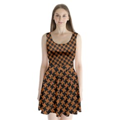 HOUNDSTOOTH2 BLACK MARBLE & RUSTED METAL Split Back Mini Dress