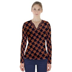 HOUNDSTOOTH2 BLACK MARBLE & RUSTED METAL V-Neck Long Sleeve Top
