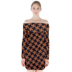 HOUNDSTOOTH2 BLACK MARBLE & RUSTED METAL Long Sleeve Off Shoulder Dress