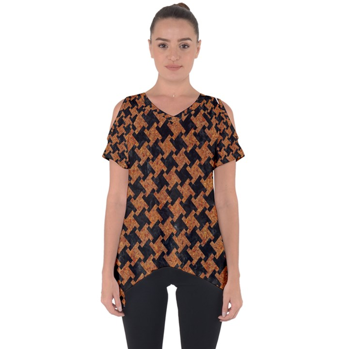 HOUNDSTOOTH2 BLACK MARBLE & RUSTED METAL Cut Out Side Drop Tee