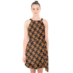 HOUNDSTOOTH2 BLACK MARBLE & RUSTED METAL Halter Collar Waist Tie Chiffon Dress