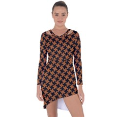 HOUNDSTOOTH2 BLACK MARBLE & RUSTED METAL Asymmetric Cut-Out Shift Dress