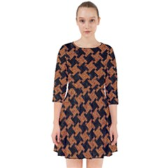 HOUNDSTOOTH2 BLACK MARBLE & RUSTED METAL Smock Dress