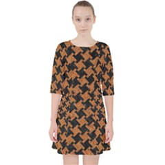 HOUNDSTOOTH2 BLACK MARBLE & RUSTED METAL Pocket Dress
