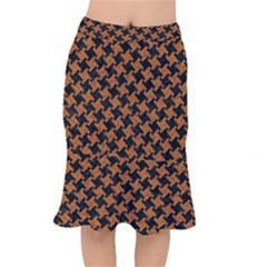 HOUNDSTOOTH2 BLACK MARBLE & RUSTED METAL Mermaid Skirt