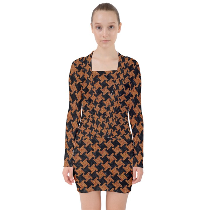 HOUNDSTOOTH2 BLACK MARBLE & RUSTED METAL V-neck Bodycon Long Sleeve Dress