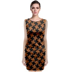 HOUNDSTOOTH2 BLACK MARBLE & RUSTED METAL Sleeveless Velvet Midi Dress