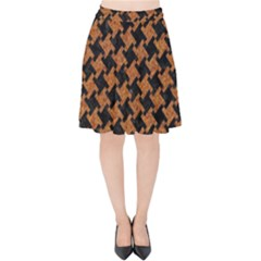 HOUNDSTOOTH2 BLACK MARBLE & RUSTED METAL Velvet High Waist Skirt