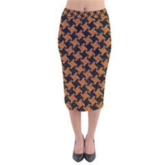 HOUNDSTOOTH2 BLACK MARBLE & RUSTED METAL Velvet Midi Pencil Skirt