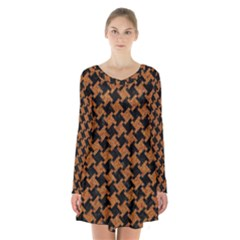 HOUNDSTOOTH2 BLACK MARBLE & RUSTED METAL Long Sleeve Velvet V-neck Dress