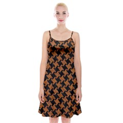 HOUNDSTOOTH2 BLACK MARBLE & RUSTED METAL Spaghetti Strap Velvet Dress