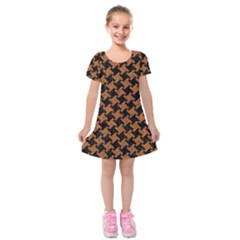 HOUNDSTOOTH2 BLACK MARBLE & RUSTED METAL Kids  Short Sleeve Velvet Dress