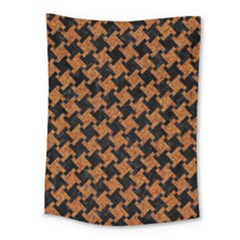 HOUNDSTOOTH2 BLACK MARBLE & RUSTED METAL Medium Tapestry