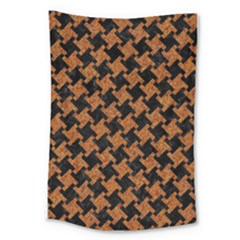 HOUNDSTOOTH2 BLACK MARBLE & RUSTED METAL Large Tapestry
