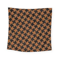 HOUNDSTOOTH2 BLACK MARBLE & RUSTED METAL Square Tapestry (Small)